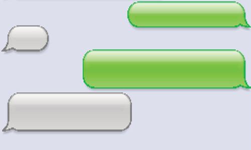 Empty phone messaging bubbles
